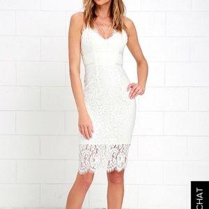 Lulu's White Lace Midi Dress